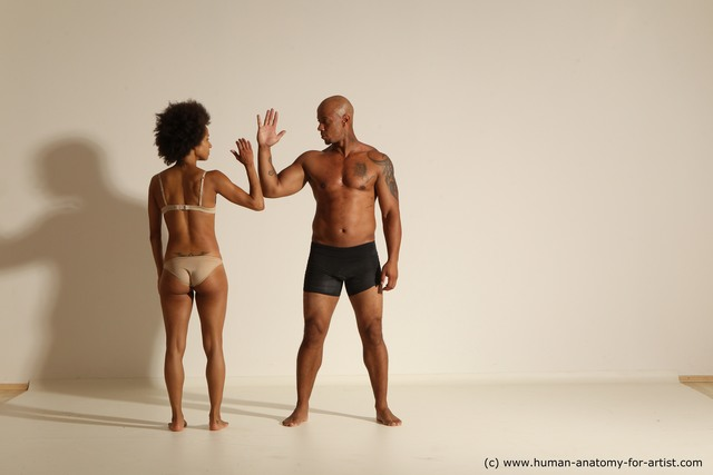 Underwear Woman - Man Black Muscular Black Dancing Dynamic poses