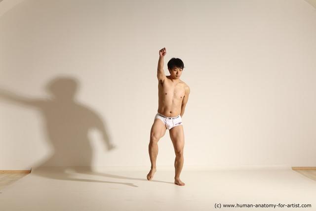 Underwear Fighting Man Asian Athletic Medium Black Dynamic poses