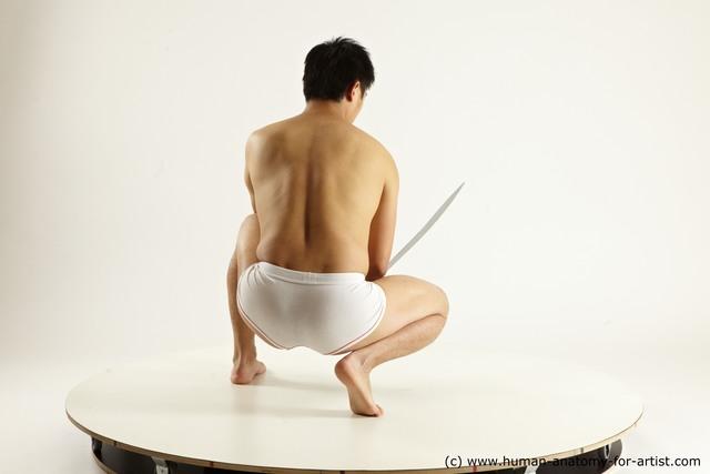 Underwear Fighting with sword Man Asian Slim Medium Black Multi angles poses