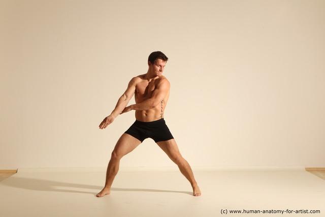 Underwear Fighting Man White Dynamic poses