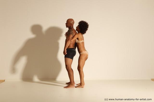 Underwear Woman - Man Black Dynamic poses