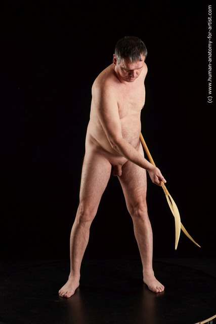 Nude Fighting with spear Man White Standing poses - ALL Chubby Short Grey Standing poses - simple Standard Photoshoot
