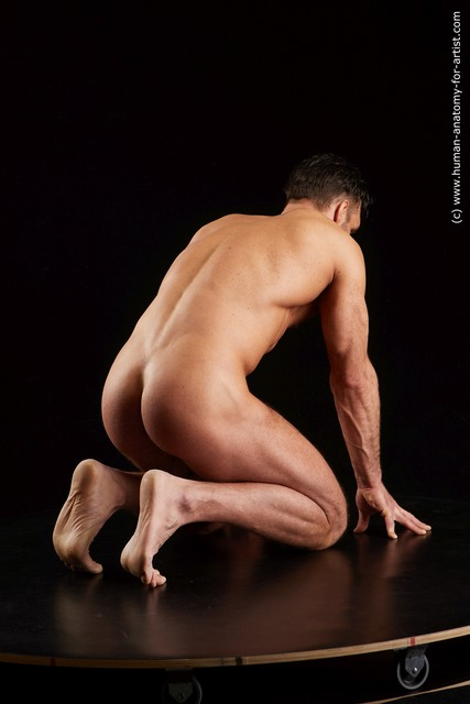 Nude Man White Muscular Short Black Standard Photoshoot
