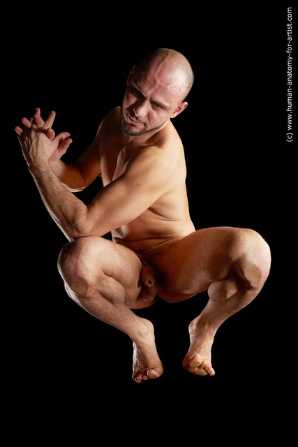 Nude Man White Muscular Short Brown Hyper angle poses