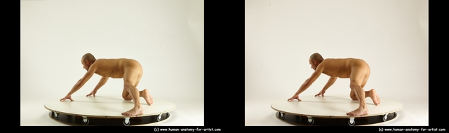 Nude Man White Kneeling poses - ALL Muscular Bald Kneeling poses - on one knee 3D Stereoscopic poses