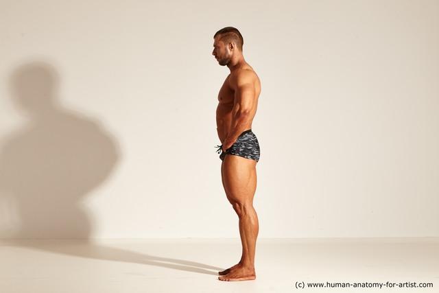 Underwear Gymnastic poses Man White Muscular Short Brown Dynamic poses