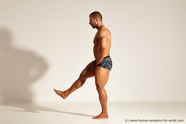 Underwear Gymnastic poses Man White Muscular Short Brown Dynamic poses