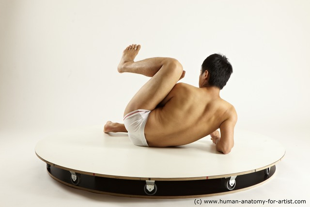 Underwear Man Asian Laying poses - ALL Athletic Medium Laying poses - on back Black Multi angles poses