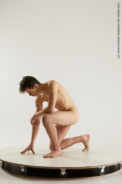 Nude Man White Slim Short Brown Multi angles poses