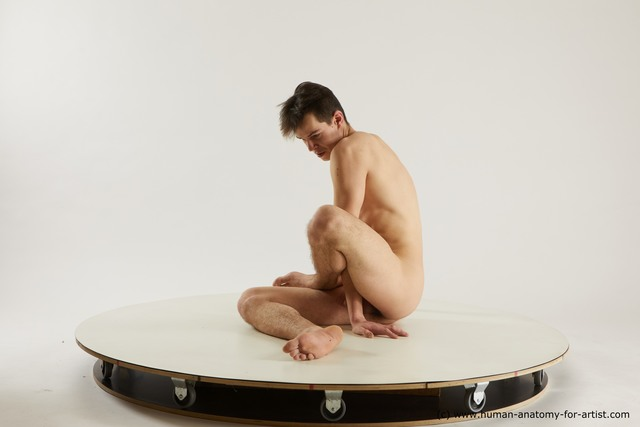 Nude Man White Sitting poses - simple Slim Short Brown Sitting poses - ALL Multi angles poses