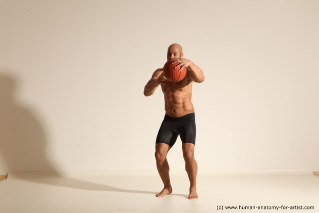 Underwear Man Black Muscular Bald Dynamic poses