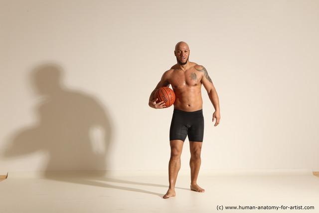 Underwear Man Black Muscular Bald Dynamic poses