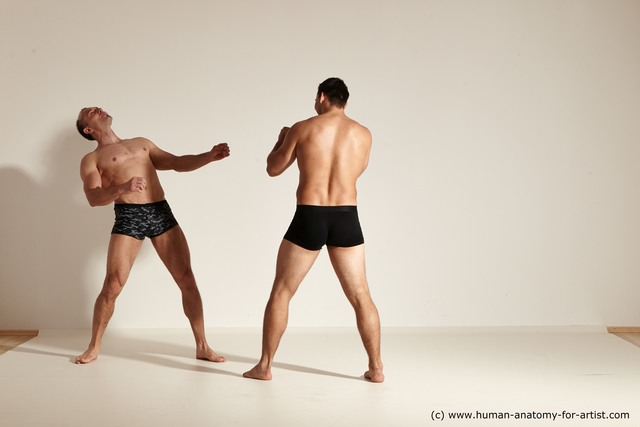 Underwear Fighting Man - Man White Slim Short Brown Dynamic poses