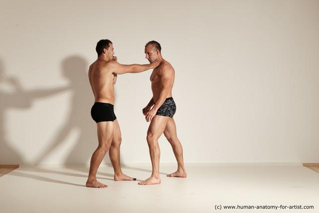 Underwear Fighting Man - Man White Slim Short Brown Dynamic poses