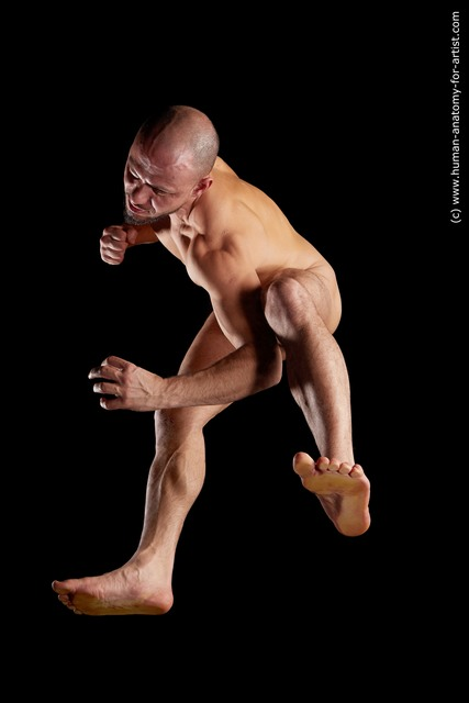 Nude Man Muscular Bald Hyper angle poses