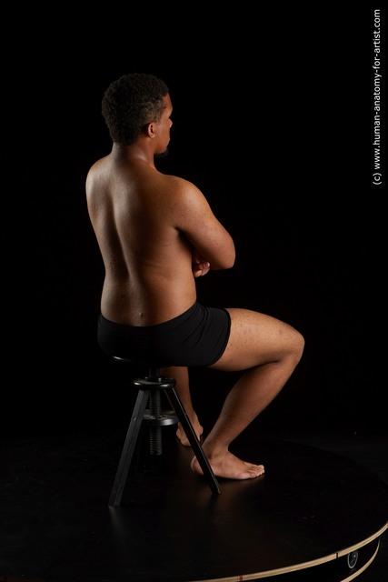 Underwear Man Black Sitting poses - simple Average Short Black Sitting poses - ALL Standard Photoshoot