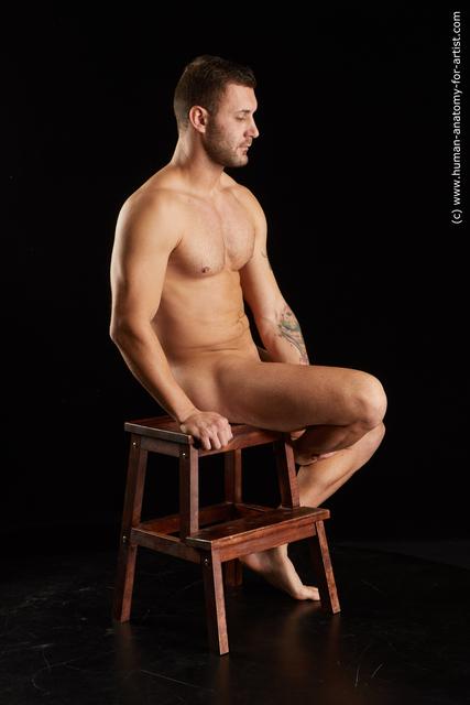 Nude Man White Slim Short Black Standard Photoshoot