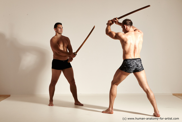 Underwear Fighting Man White Athletic Short Brown Dynamic poses