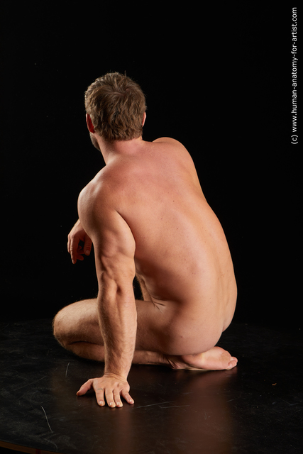 Nude Man White Muscular Short Brown Standard Photoshoot