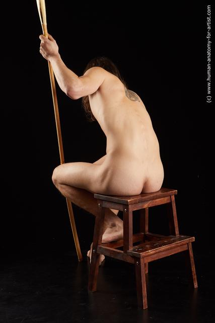 Nude Man White Slim Long Brown Standard Photoshoot