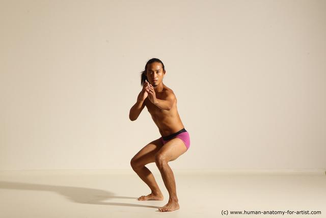 Underwear Fighting Man Asian Athletic Long Black Dynamic poses
