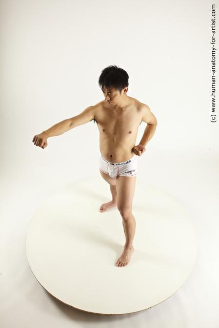 Underwear Fighting Man Asian Athletic Medium Black Multi angles poses