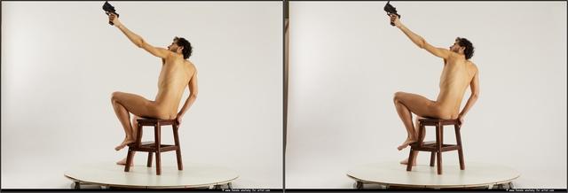 Nude Fighting with gun Man Black Slim Medium Black 3D Stereoscopic poses