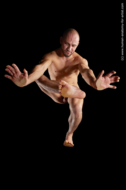 Nude Man White Muscular Bald Hyper angle poses