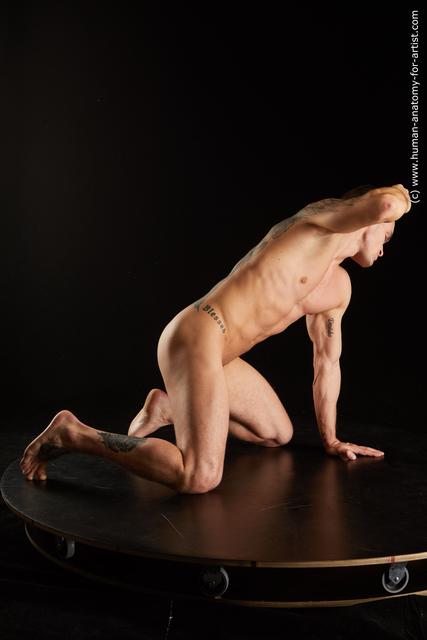 Nude Man White Kneeling poses - ALL Muscular Short Kneeling poses - on both knees Black Standard Photoshoot