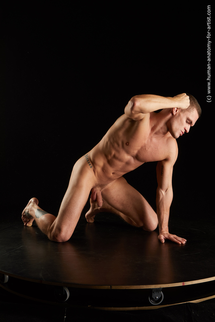 Nude Man White Kneeling poses - ALL Muscular Short Kneeling poses - on both knees Black Standard Photoshoot
