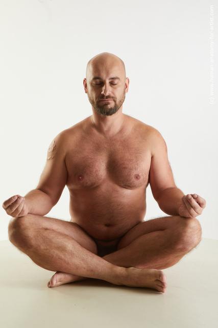 Nude Man White Average Bald Standard Photoshoot