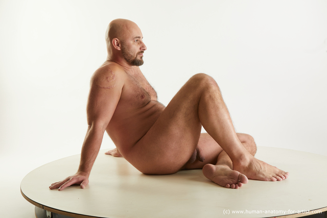 Nude Man White Average Bald Standard Photoshoot