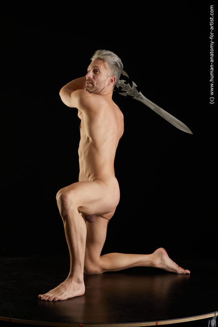 Nude Fighting with sword Man White Muscular Short Grey Standard Photoshoot