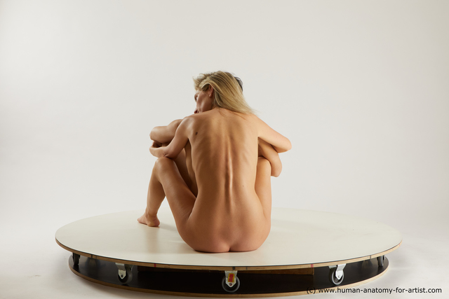 Nude Woman - Man White Sitting poses - simple Slim Sitting poses - ALL Multi angles poses