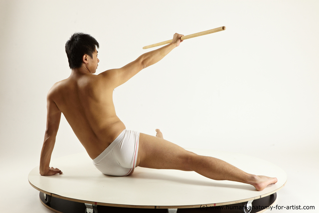 Underwear Fighting with spear Man Asian Sitting poses - simple Athletic Short Black Sitting poses - ALL Multi angles poses