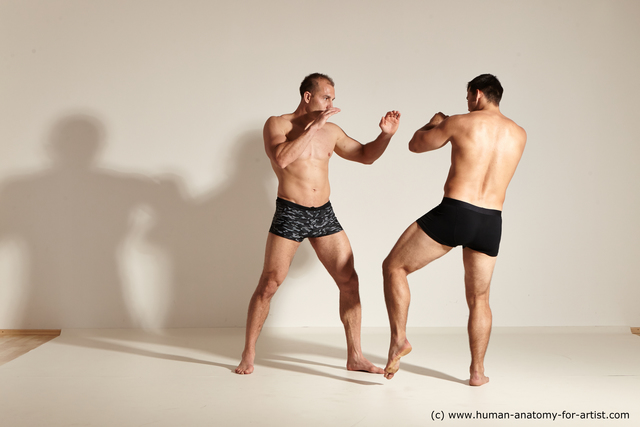 Underwear Fighting Man - Man White Athletic Short Brown Dynamic poses