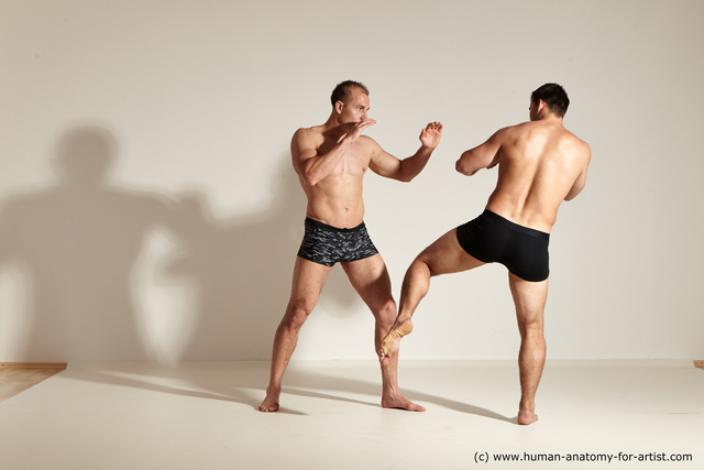 Underwear Fighting Man - Man White Athletic Short Brown Dynamic poses