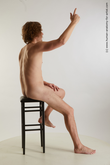 Nude Man White Sitting poses - simple Slim Medium Brown Sitting poses - ALL Standard Photoshoot