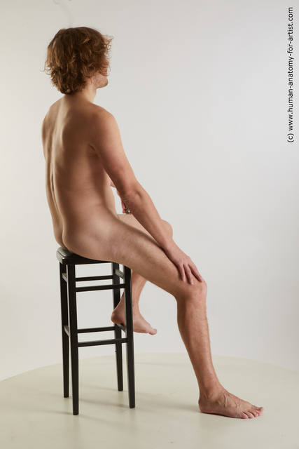 Nude Man White Sitting poses - simple Slim Medium Brown Sitting poses - ALL Standard Photoshoot