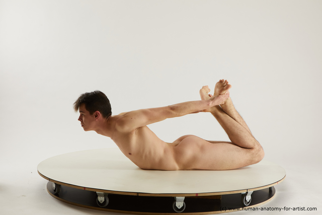Nude Man White Laying poses - ALL Slim Short Laying poses - on stomach Black Multi angles poses