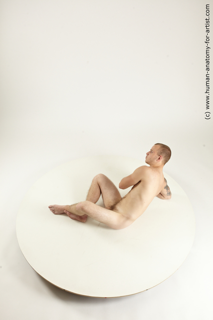 Nude Man White Laying poses - ALL Slim Short Brown Laying poses - on back Multi angles poses