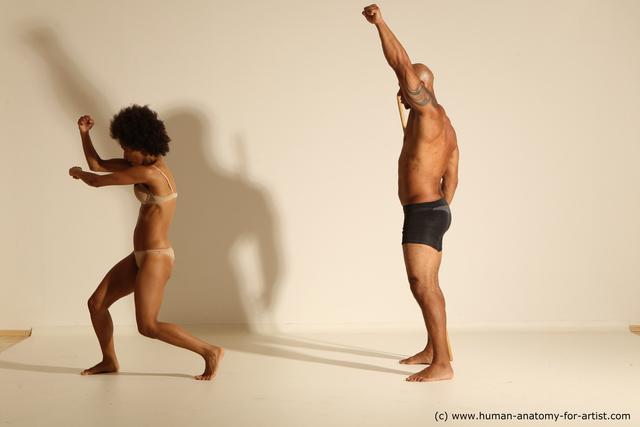Underwear Woman - Man Black Athletic Dancing Dynamic poses