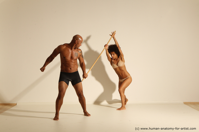 Underwear Woman - Man Black Athletic Dancing Dynamic poses