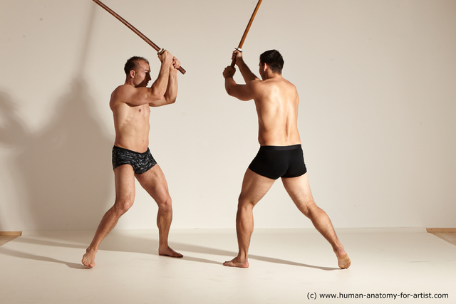 Underwear Fighting with spear Man - Man White Athletic Short Brown Dynamic poses
