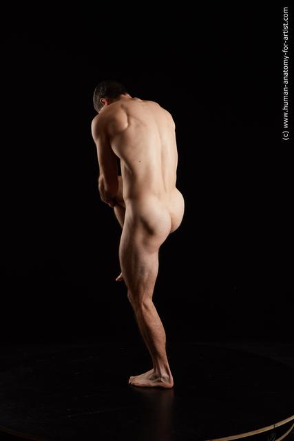 Nude Man White Muscular Short Black Standard Photoshoot