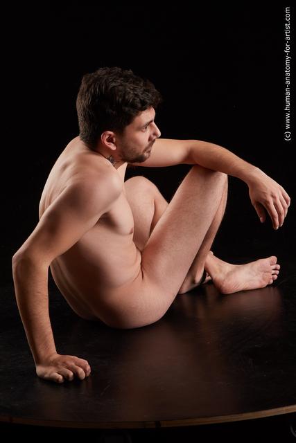 Nude Man White Average Short Black Standard Photoshoot