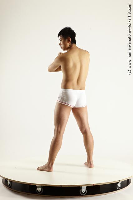 Underwear Fighting Man Asian Slim Short Black Multi angles poses