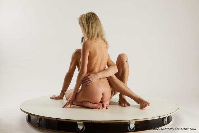Nude Woman - Man White Slim Multi angles poses