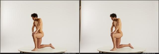 Nude Man Another Kneeling poses - ALL Slim Medium Kneeling poses - on one knee Black 3D Stereoscopic poses
