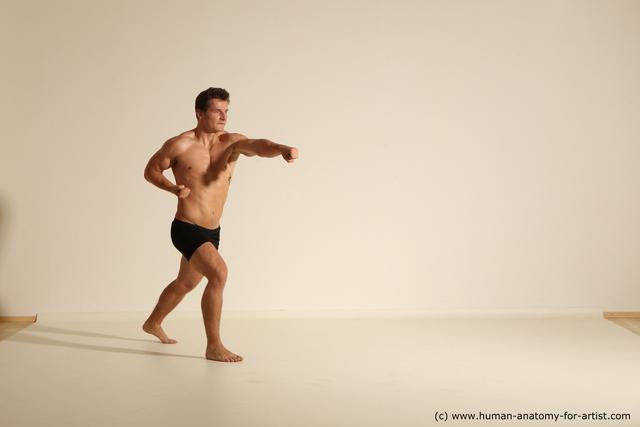 Underwear Fighting Man White Muscular Short Brown Dynamic poses